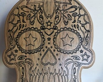 Mexican skull, decoration, table below