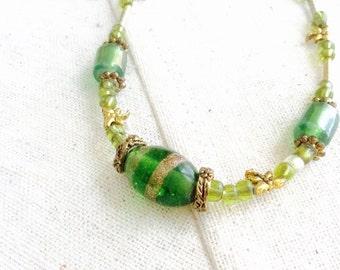 Green Glass Bead Necklace—Handmade