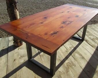 Reclaimed Barnwood Farmhouse Custom Dining Table with Metal Base
