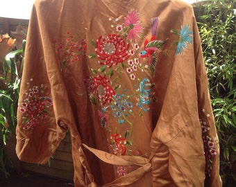 SALE 30% OFF Silk Robe hand embroidery fits all