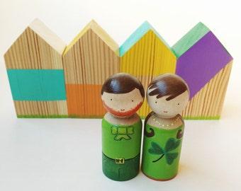 IRISH COUPLE peg dolls/FAMILY peg dolls