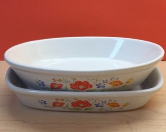 Floral Baking Plates, Vintage Stoneware Baking Dishes, A Set of Two, Made in Japan