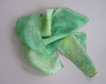 Green silk scarf, textured green and yellow scarf, pattern in green