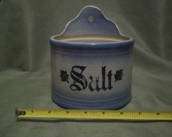Vintage Blue & White Stoneware Salt Crock