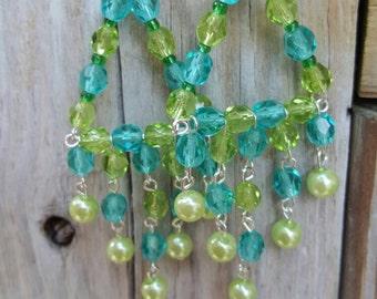 Beaded Chandelier Earrings, long earrings, pearl and crystal earrings