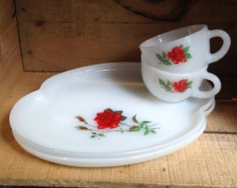 Snack set, Two teacups and plates milk glass with red roses - Vintage tea cup and snack tray - English Teacup - Federal glass co