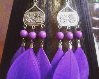 Sale! Purple feather earrings