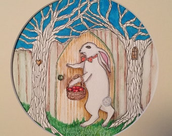 Appely ever after - white rabbit giclee print