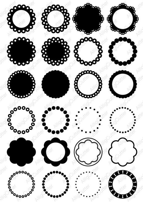 Circle Dot Scallop Monogram Frames Svg Dxf Png Eps Cut