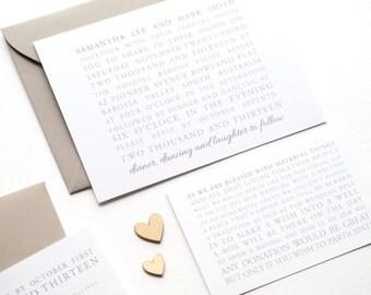 SAMANTHA Wedding Suite - DEPOSIT - Wedding Invitation, Modern Wedding Invitation, White & Grey Wedding Invitations, Wedding Invites