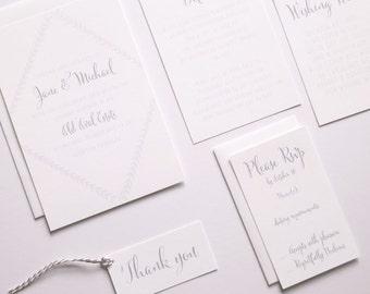 JANE Wedding Suite - SAMPLE - Wedding Invitation, Script Wedding Invite, White & Grey Wedding Invitations, Wedding Invites - Calligraphy