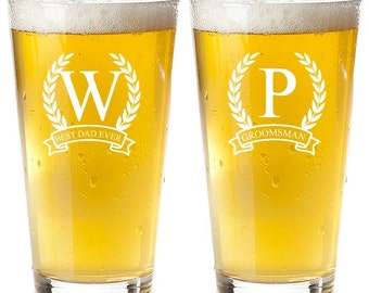 2 pcs Wreath Personalized Engraved Pint Glass - Groomsmens Gifts (MIC4)