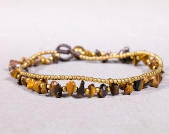 Sandstone Anklet, Gold Strings Anklet, Brown Foot Band, Beaded Anklet, Stylish Beach Anklet, A-10