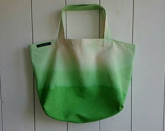 Shopper, tote bag, tie and dye, canvas bag, green market bag