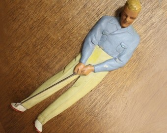 Vintage Wood Carved Androgynous Golfer