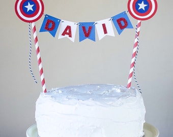 Captain America Cake Banner, Cake bunting, Cake topper, Birthday Decorations
