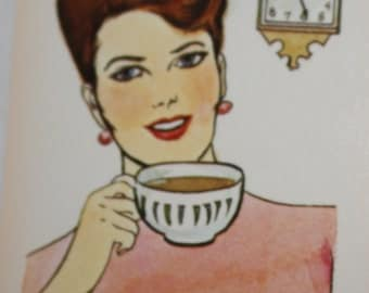 Vintage Lady with Coffee Picture Card - Scrapbook Ephemera - Vintage Ephemera- Coffee Ephemera - Coffee Picture -