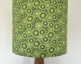 SALE  Green grey and White Floral pattern Lamp Shade