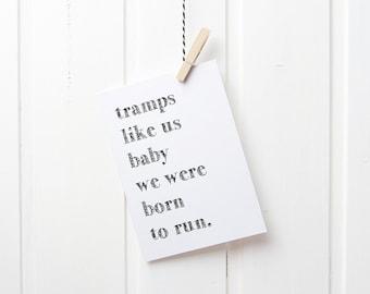Postcard Springsteen quote born to run