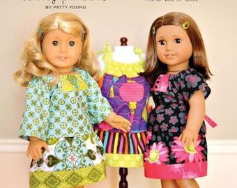"ModKid - Mini Nina - Paper Sewing Pattern for 18"" Doll's top, skirt, & dress"