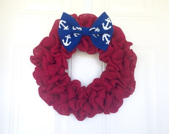 Red Burlap Wreath with Anchor Bow
