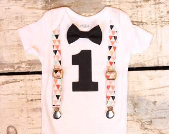 Baby Boy First Birthday Outfit  Smash Cake Outfit  Baby Boy 1st Birthday Outfit  Bowtie and Suspenders  Triangles and Black