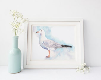 Seagull print S186DL, seagull watercolor painting print, downloadable watercolor print, printable seagull, contemporary coastal wall art