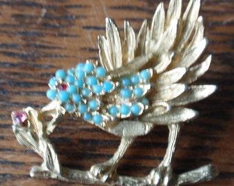Bluebird Bead and rhinestone Brooch