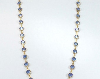 "Raindrops Necklace - Light Sapphire/Gold 36"" Swarovski crystal"
