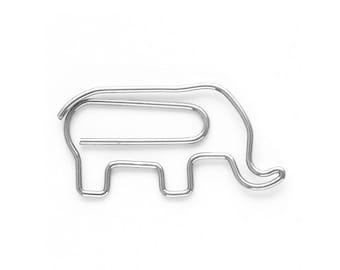 5 Elephant Paper clips metal Bookmark