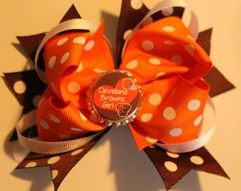 Cleveland browns boutique hair bow