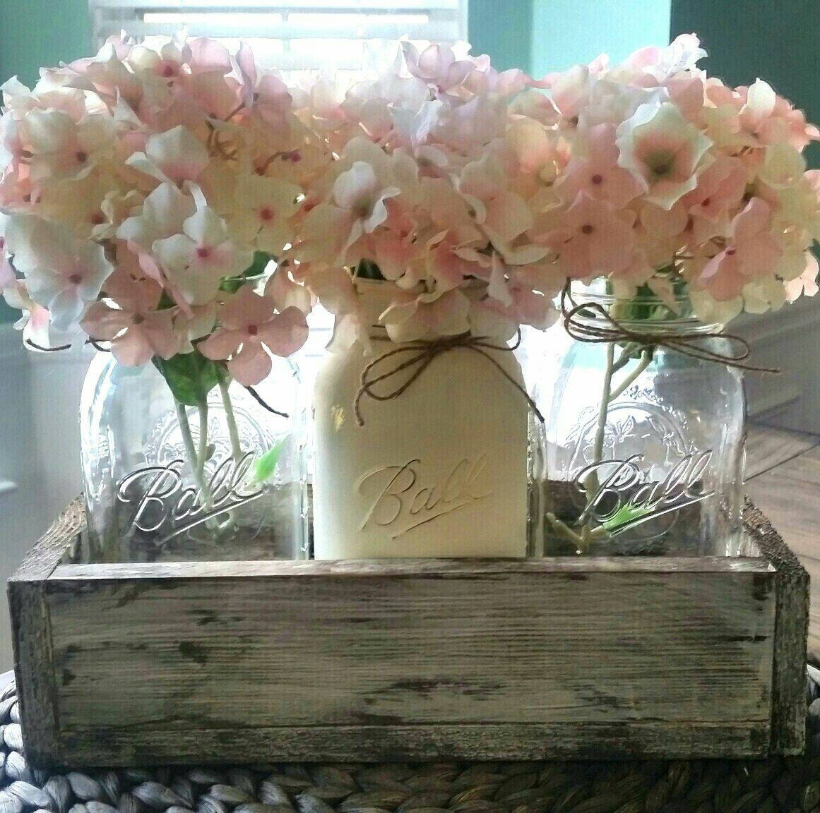 Mason jar centerpiece mason jar table decor rustic home for Rustic dining table centerpieces