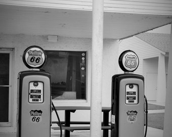 Vintage photography gas pumps