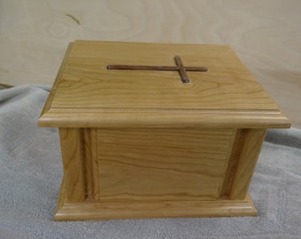 Wood Cremation Urn with Corner Posts and Cross - Urn for Human Cremation Ashes for Funeral, Memorial or Celebration of Life