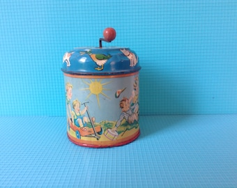 Vintage tin music box from the fifties