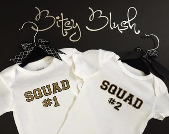 Awesome Squad #1 and #2 Twin infant onsie set