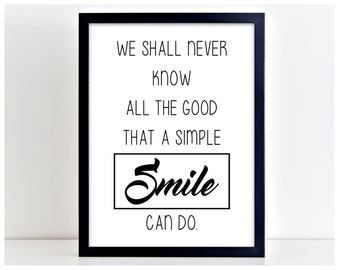 A Simple Smile Poster Print Motivation Word Art Life Quote Wall Sign Home Decor  → INSTANT DOWNLOAD ← PP15