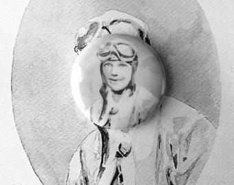 Amelia Earhart Button