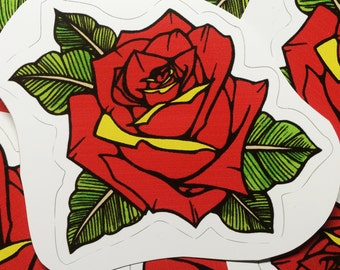 Red Rose Tattoo Style Sticker