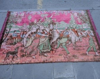 Turkish Vintage  velvet wall hangings rug,illustrated wedding procession,71'' x 46'' inches