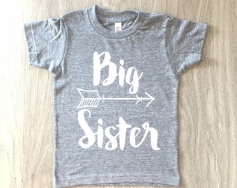 Big Sister tshirt - baby girl shirt - toddler girl t-shirt - summer tee