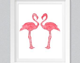 Flamingo Art Print, Flamingo Printable, Instant Download, Printable Home Decor, Digital Art Print, Pink Flamingo Wall Decor, Nursery Art