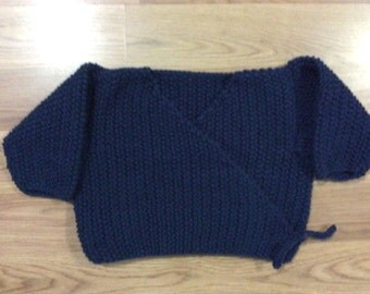Cozy Baby Wrap and Tie Cardigan - No Buttons! Navy Blue, Size 18/24 Months