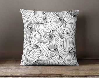Black & White Waves Pattern | Decorative Throw Pillow Cover | Cushion Case | Designer Pillow Case | Birthday Gift Idea