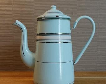 Antique french enamel coffee pot, mint color.