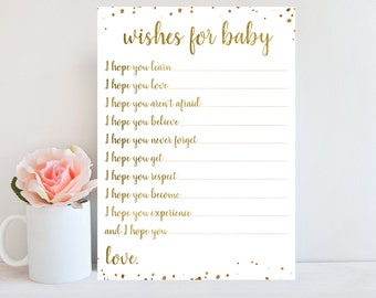 Gold Baby Shower Wishes for Baby Card, Wishes for Baby Printable Girl Boy Baby Shower Game, Dear Baby, Gold Confetti, Instant Download BBSG1
