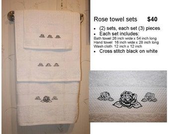 Rose Cross Stitch Silhouette Towel Set