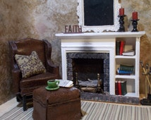 Miniature 1:12 scale Fireside furniture set,brown chair with ottoman,white & brick fireplace and more