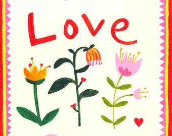 Love | Hand-painted illustration | 10x10 in