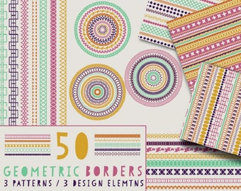 50 Geometric Border - 3 Detailed Seamless Patterns - 3 Design Element Clipart - Unique Intricate Borders for Stationary Invitations Clip art
